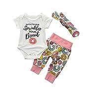 CSSD Toddler Newborn {Baby Girls} {Donut Print} {Short Sleeve} Romper Tops+Pants+Headband Set (6M, White)