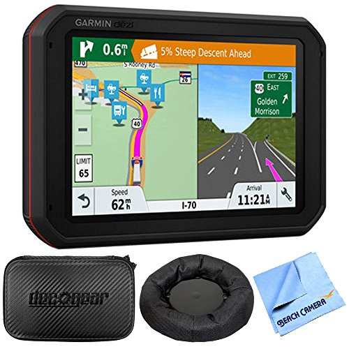 Garmin dezlCam 785 LMT-S GPS Truck Navigator with Built-in Dash Cam (010-01856-00) with Accessories Bundle Includes, Universal GPS Navigation Dash-Mount, Hard EVA Case w/Zipper, 7-inch and 1 Piece Mi