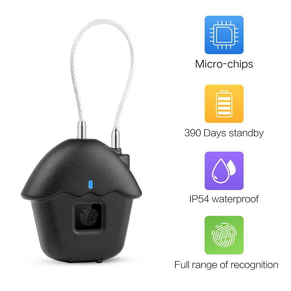 LESOVI New 2019 Fingerprint Lock,1 Second Unlock Portable Smart Biometric Security No Password,Waterproof and Anti-Theft Padlock for Golf Bag,Suitcase,Gym Locker,Cupboard,Drawer,Door and More