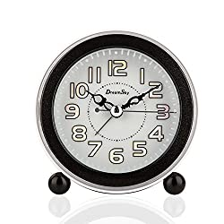 DreamSky Non Ticking Analog Alarm Clock With Back Light And Snooze, Loud Music Alarms,Simple To Set,Battery Operated
