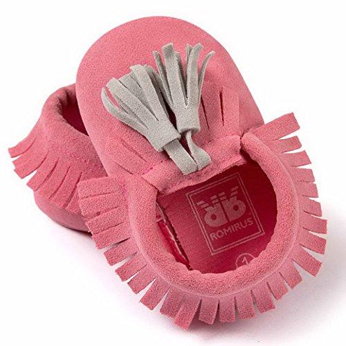 Happy Cherry Zapatos con Borlas Mocasines de PU Piel Suaves Zapatitos Primeros Pasos Calzado Infantil para 3-18 Meses Bebés Niñas Niños Baby Shoes Esmerilado Rojo*Gris