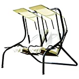 Outdoor Patio 2 Person Swing Chair Porch Padded Loveseat Hammock W/Canopy Beige