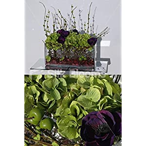 Large Modern Trough Display w/ Green Hydrangea & Purple Anemones 107