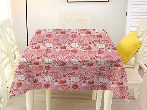 L'sWOW Machine Washable Square Tablecloth Tea Party Tea Time Themed Illustration with Cherries and Cupcakes of Many Flavors Pink Beige Orange Retro 60 x 60 -