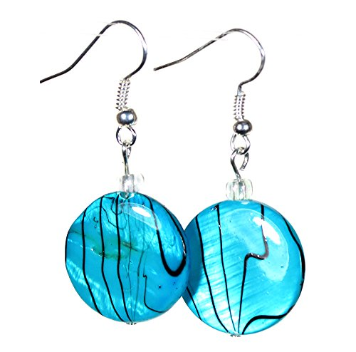 Style-ARThouse Caribbean Cruise Natural Mother-of-pearl Blue-dyed Earrings on French Wires, 1.5 Inches