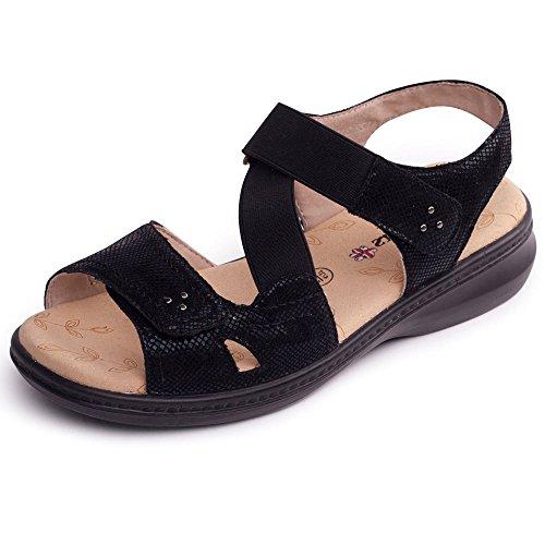caviglia con da donna Sandali 2 alla Padders nero rettile cinturino Louise x7qOpp8