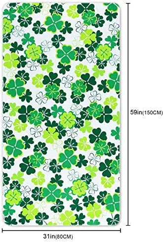 Ikfashoni St Patricks Day Beach Towel, Shamrocks Beach Towels Oversized, Irish Clover Pool Towel, Absorbent Sand Free Quick Dry Beach Towel for Travel Swimming Bath Yoga Camping, 31 x 60