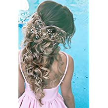 Bridalvenus Wedding Headband Bridal Headpieces for Bridesmaid and Flowergirls - 27.5 Inches Extra Long Pearls Silver Hair Accessories for Women and Girls