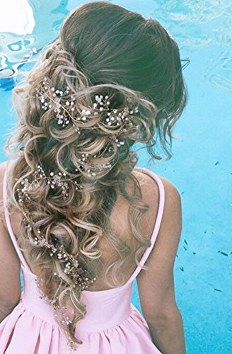 Bridalvenus Wedding Headband Bridal for Bridesmaid and Flowergirls - 27.5 Inches Long Pearls Gold Hair Accessories for Women and Girls (Gold)