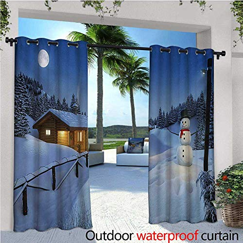 """Christmas Outdoor Privacy Curtain for Pergola Wooden Rustic Log Cottage Scenery in the Winter Season Warm Moonlight Spirit Thermal Insulated Water Repellent Drape for Balcony W72"""" x L108"""" Blue White"""