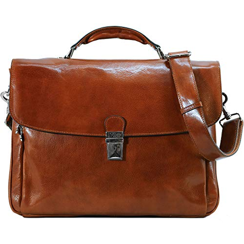 Firenze Laptop Leather Briefcase in Olive (Honey) Brown