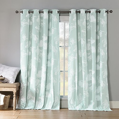 Heavy Insulated Floral Print Polycotton Grommet Window Curtain Pair Panel Drape Covering For Your Livingroom, Bedroom - Assorted Colors - 54 by 84 Inch, Set of 2 Panels - Icy Blue
