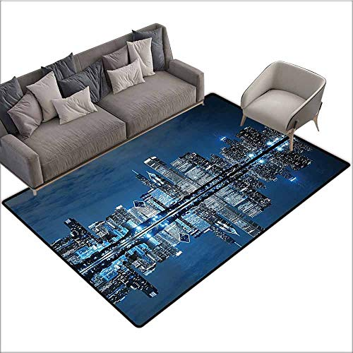 (Thin Non-Slip Kitchen Bathroom Carpet Colorful Americana Cityscape Decor Collection,Modern Art Picture of Water Reflection Chicago Illinois Buildings at Dark Night Scene 48