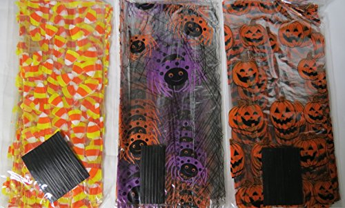 75 Halloween Treat Bags with Twist Ties - Cellophane Bags Halloween Cello Bags
