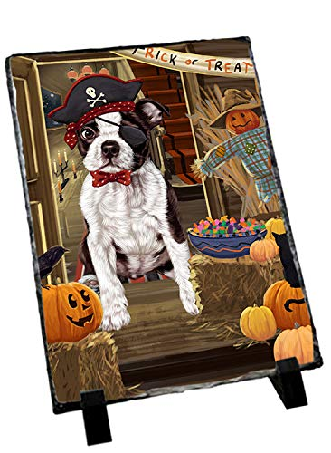 Doggie of the Day Enter at Own Risk Trick or Treat Halloween Boston Terrier Dog Photo Slate SLT53036