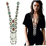 SUNSCSC Vintage Retro Rhinestone turquoise Long Boho Bohemian Statement Necklace for Women (Silver Plated)