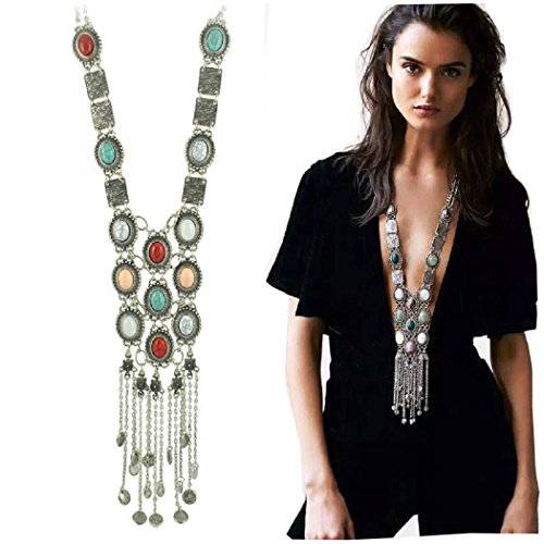 SUNSCSC Vintage Retro Rhinestone turquoise Long Boho Bohemian Statement Necklace for Women (Silver Plated) (Unique Necklaces)