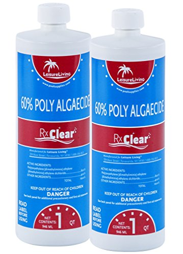 Rx Clear Swimming Pool Algaecide 60 Plus | One Quart Bottles | 2 Pack | Above or Inground Pools | Keeping Algae in Suspension