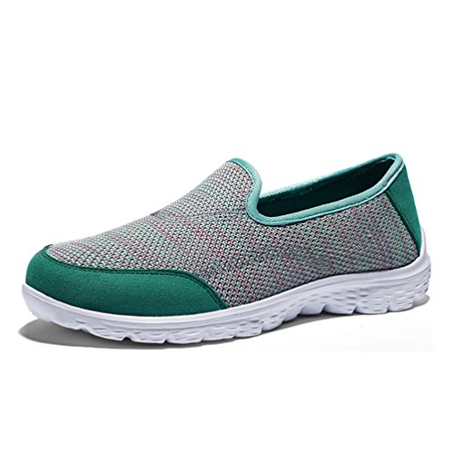 JRenok Baskets Femme Chaussures de Sport Running Multisport Outdoor Sneakers Casual Mode Chaussures de Filet Respirant 35-42 Vert