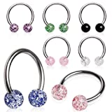 7 316L Surgical Steel Horse Shoe with UV Coated Glitter Balls