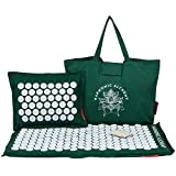 Complete Acupressure Mat Combo | Acupressure Mat & Pillow Combo(Green) by Heavenly | Back & Neck Pain Relief Treatment