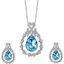 Lelekiss Sterling Silver Swarovski Elements Crystal Pendant Necklace and Stud Earrings Fashion Jewelry Set for Women