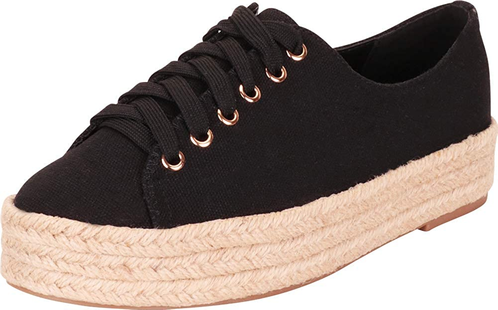 Black Cambridge Select Women's Low Top Lace-Up Chunky Espadrille Flatform Fashion Sneaker