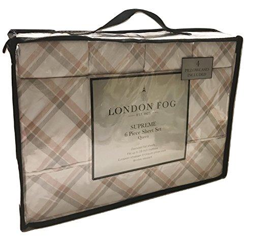 London Fog Plaid Coral Gray Queen Sheet Set