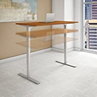 Move 80 Series 60W Height Adjustable Standing Desk in Natural Cherry with Cool Gray Metallic Base
