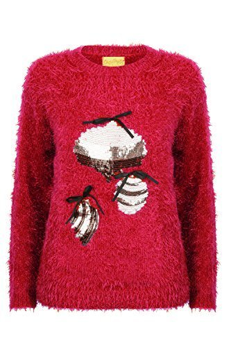 Christmas maglia CIGLIA DI DONNA MARCA Wishes morbido Natalizio NUOVO Maglioncino Rosso Cremisi felpe Fronzoli zx1qrz6wnA