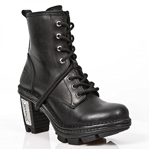 New Rock Laarzen M.neotr008-s1 Gothic Hardrock Punk Damen Stiefelette Schwarz