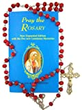 """Pray the Rosary"" Instructional How To Booklet with Rose Scented Bead 18 Inch Rosary"