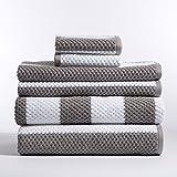 Caro Home 6PC-1075-T1-205 Stripes Rugby 6-Piece Cotton Bath Towel Set