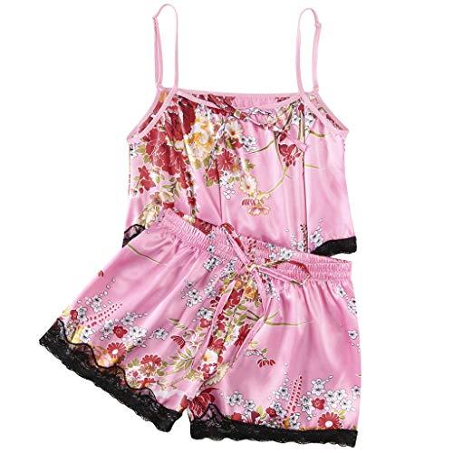 - 2PC Women's Plus Size Sexy Lace Sleepwear Passion Solid Lingerie Nightgown Babydoll Temptation Parjamas Sleepdress (Pink, XXL-Bust:33.1-39.4'')
