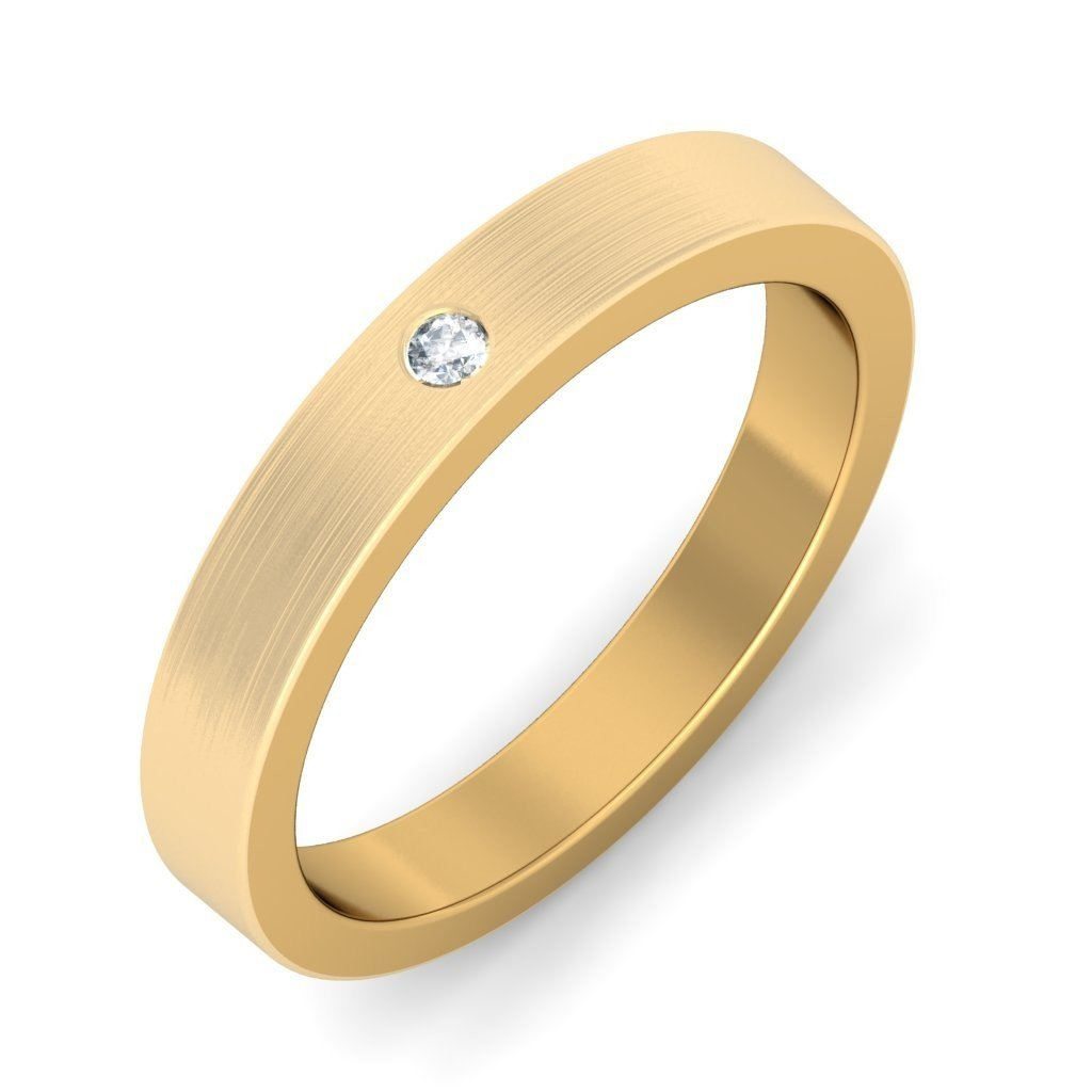 Certified 18K Yellow Gold (HallMarked), 0.02 cttw White Diamond (IJ | SI ) Diamond Engagement Wedding Ring Size - 11.5