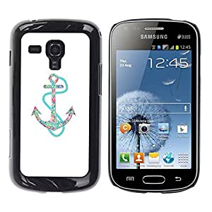 Be Good Phone Accessory // Dura Cáscara cubierta Protectora Caso Carcasa Funda de Protección para Samsung Galaxy S Duos S7562 // Anchor Teal White Minimalist Boat Sea