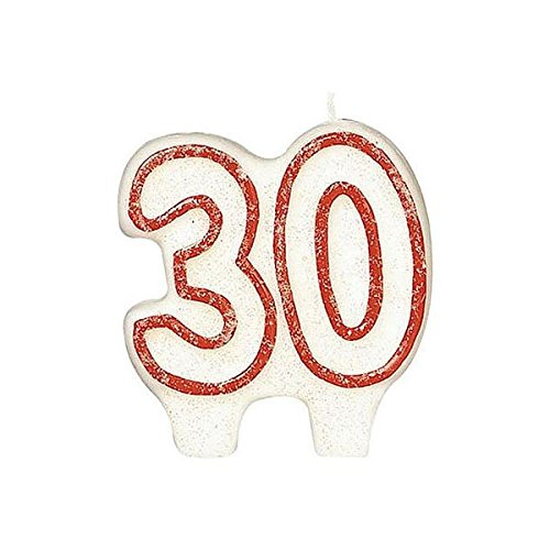 Classic Red Border Flat Molded Glittered Number 30 Celebration Candle, White , 2.75