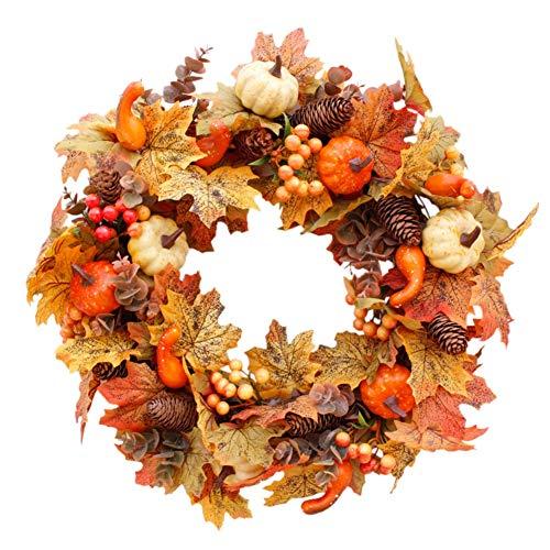 Forart 22 pulgadas otoño guirnalda entrada puerta decoración guirnalda decoraciones de otoño para entrada interior pared boda decoración del hogar