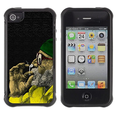 iPhone 4 / iPhone 4S , Cannabis Man Green Hat Old Grey Beard Art