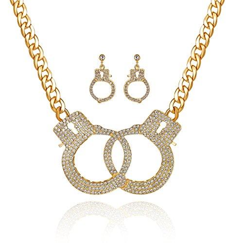 Qiji Women's Georgous Statement Rhinestone Handcuff Jewelry Set Punk Rock Crystal Handcuff Necklace Handcuff Stud Earrings Night Club Dangle Earrings Costume Party Jewelry -