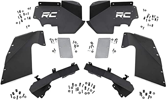 Rough Country Front Steel Inner Fenders Liners Compatible w 07-18 Jeep Wrangler JK Using Vertex Under Fender Armor 1195V