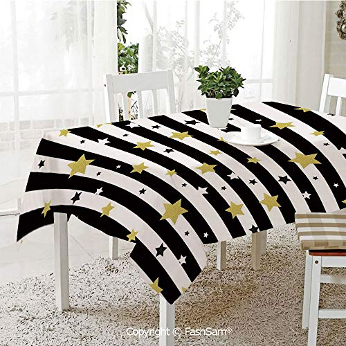 AmaUncle Premium Waterproof Table Cover Christmas Birthday Party Themed Stars On Stripes Lines Backdrop Table Protectors for Family Dinners (W55 xL72) ()