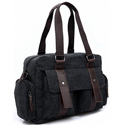 Toupons Travel Luggage Tote Small Canvas Weekender Bag for Men (Black )