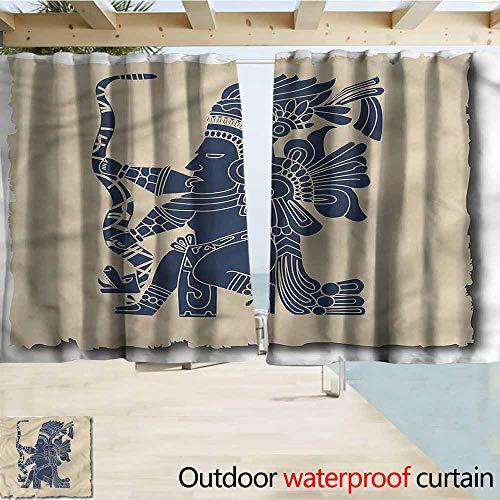 (Beihai1Sun Rod Pocket Top Blackout Curtains/Drapes Tribal Mayan Inca Primitive Art Simple Stylish Waterproof W55x39L Inches)