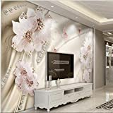 250cmX175cm Custom large fresco luxury diamond flowers 3d jewelry TV backdrop nonwovens super green wallpaper papel de parede,250cmX175cm