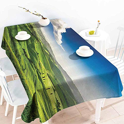 Homrkey Rectangular Tablecloth Nature Landscape Decor Collection View of Valley at Magical Sunset Country Road Rural Path Italian Romantic Deco Green Blue Washable Tablecloth W54 xL84