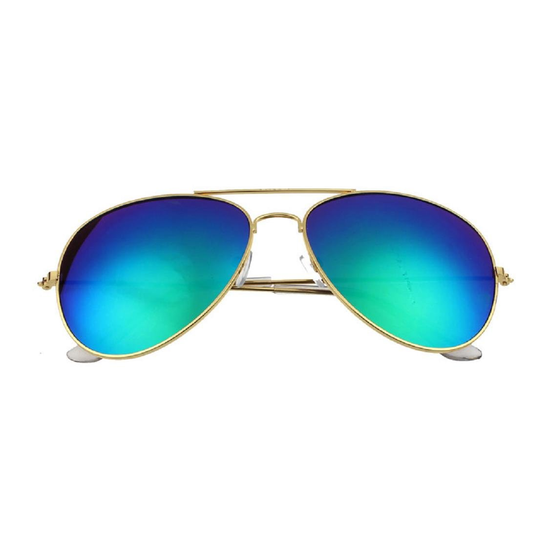 Mchoice Women Men Classic Unisex Retro Sunglasses Metal Frame (Green)