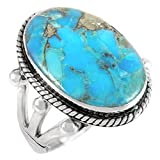 Turquoise Ring in Sterling Silver 925 & Genuine Turquoise Size 6 to 11 (9)
