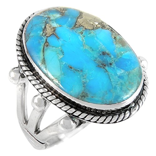 - Turquoise Ring in Sterling Silver 925 & Genuine Turquoise Size 6 to 11 (8)