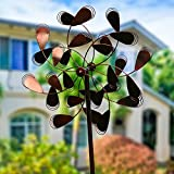 Fancy Gardens ''Whimsical Leaves'' Garden Spinner | Decorative Kinetic Windmill for lawn, garden & More | Pinwheel Decor | Durable Steel Design & Stable For Base | 84 inch tall Handpainted Whirligigs